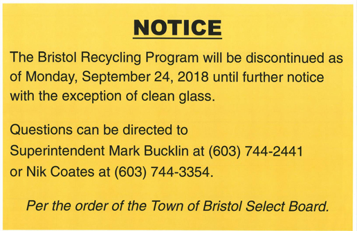 Recycling Program Notice